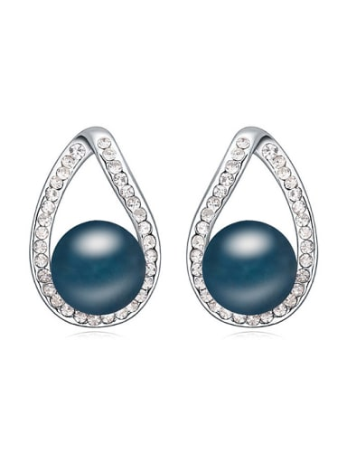 Simple Water Drop Imitation Pearl Shiny Crystal-covered Stud Earrings