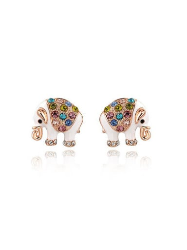 Lovely Colorful Austria Crystal Elephant Shaped Stud Earrings