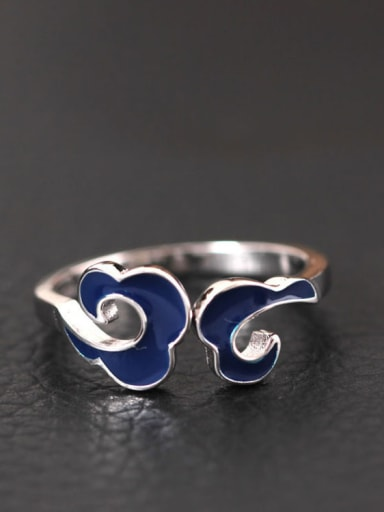 S925 Silver Retro Cloud Opening Ring