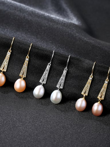 Sterling silver natural freshwater pearls micro-set 3A zircon earrings