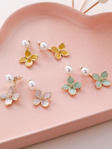 Alloy With Rose Gold Plated Cute Flower Drop Earrings