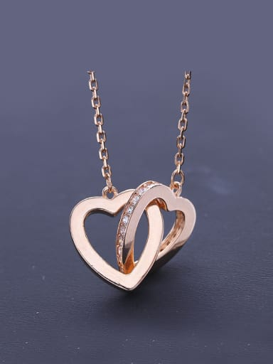 Double Heart Zircon Necklace