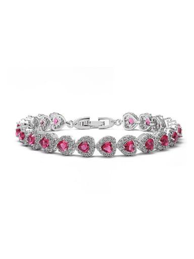 Valentine's Day Gifts Copper Inlay Zircon Love Bracelet Multi-Color Optional