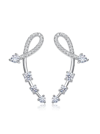 Tiny Personalized Cubic Zirconias 925 Silver Stud Earrings