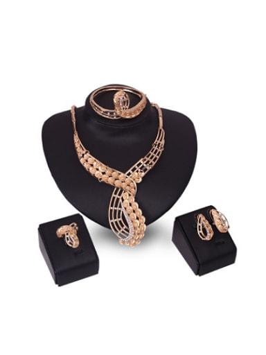 2018 2018 Alloy Imitation-gold Plated Fashion Rhinestones Four Pieces Jewelry Set