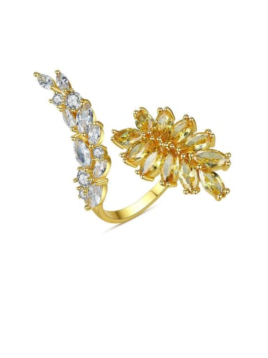 Copper With Cubic Zirconia Delicate Leaf  Free Size Rings