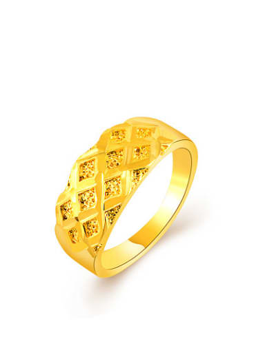 Exquisite Geometric Shaped 24K Gold Plated Copper Ring