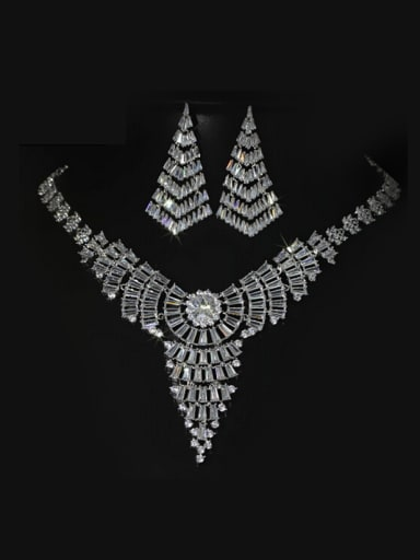 Weatern Crystal earring Necklace Wedding Jewelry Set