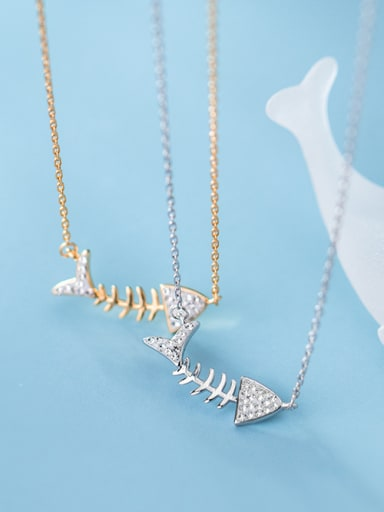 925 Sterling Silver With Platinum Plated Simplistic Fish Necklaces
