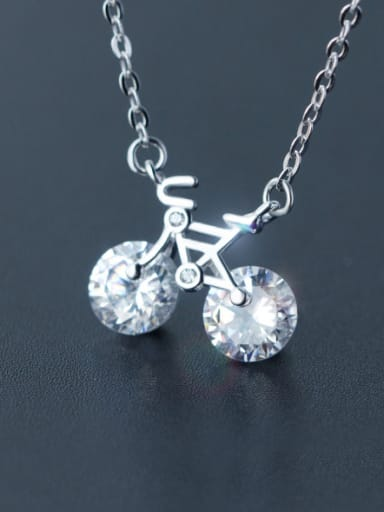 S925 silver mini bicycle shining zircon necklace