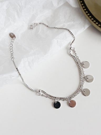 925 Sterling Silver With Platinum Plated Personality round box chain Anklets