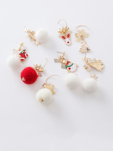 Alloy With Rose Gold Plated Cute Irregular  Christmas Ornament Drop Earrings