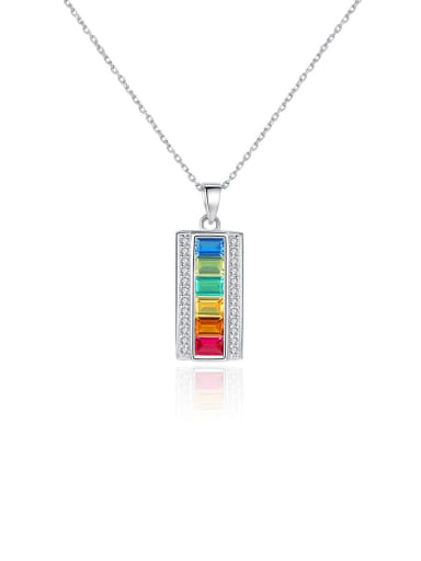 925 Sterling Silver With Platinum Plated Fashion Geometric Necklaces
