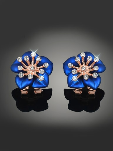 Fashion Rose Gold Plated Blue Flower Zirconias Copper Stud Earrings