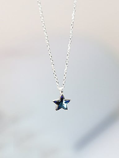 Simple Blue Star Silver Necklace