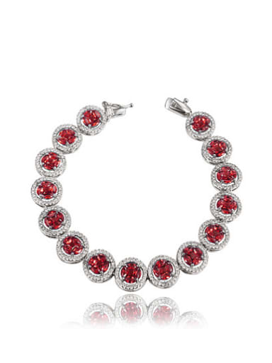 All-match Red Round Shaped Zircon Platinum Plated Bracelet