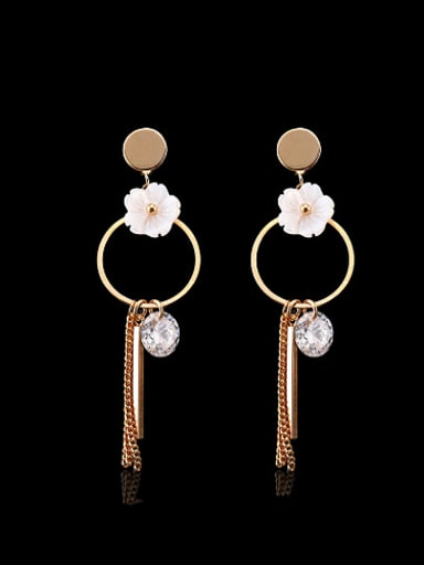 Elegant Round Shaped Flower Rhinestone Drop Earrings