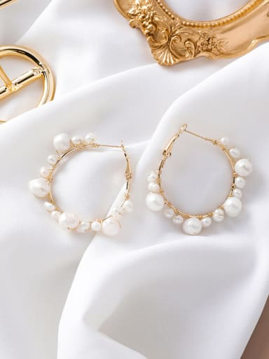 Alloy With Gold Plated Fashion Charm  Imitation Pearl Hoop Earrings