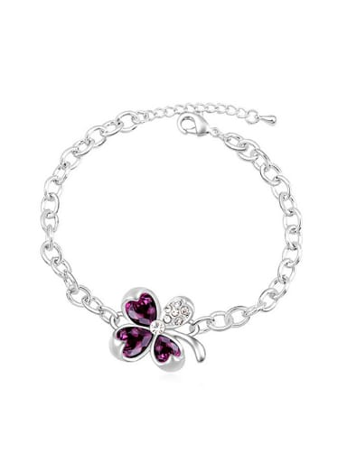 Simple Four-leaf Clover Swarovski Crystals Alloy Bracelet