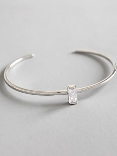 Pure silver Simple Geometric Square Zircon Free Size Bracelet