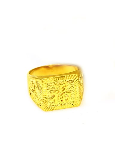 Copper Alloy 24K Gold Plated Vintage Letter Men Signet Ring