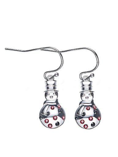Snowman-shaped hook earring