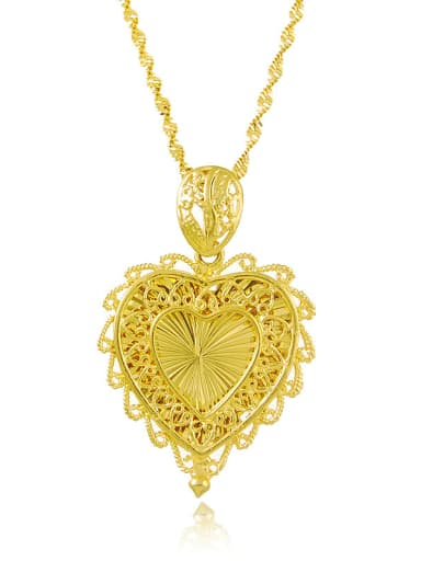High Quality Heart Shaped 24K Gold Plated Necklace