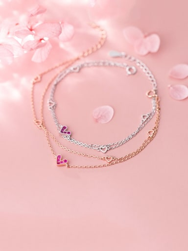 925 Sterling Silver With Cubic Zirconia Simplistic Heart Bracelets