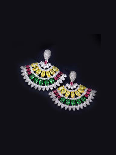 Fan-shape Zircons Chandelier earring