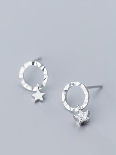925 Sterling Silver With Silver Plated Personality Round&Star Stud Earrings
