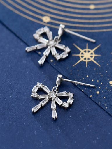 925 Sterling Silver With Platinum Plated Fashion Bowknot Drop Earrings
