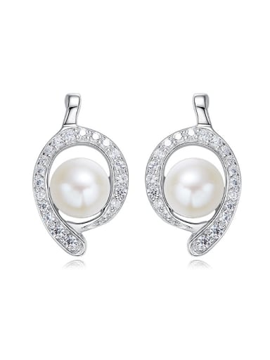 Fashion Artificial Pearl Cubic Zirconias 925 Silver Stud Earrings