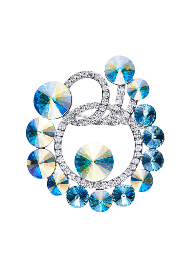 Blue Swarovski Crystals Brooch