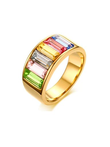 Multi-color Gold Plated Geometric Shaped Zircon Ring