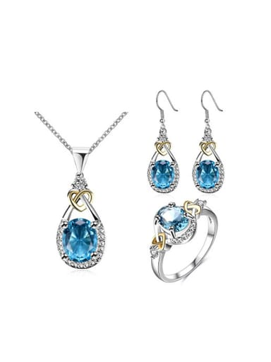 Blue Glass Stone Water Drop Shaped Three Pieces Jewelry Set