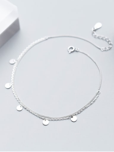 925 Sterling Silver With Platinum Plated Fashion Round Anklets