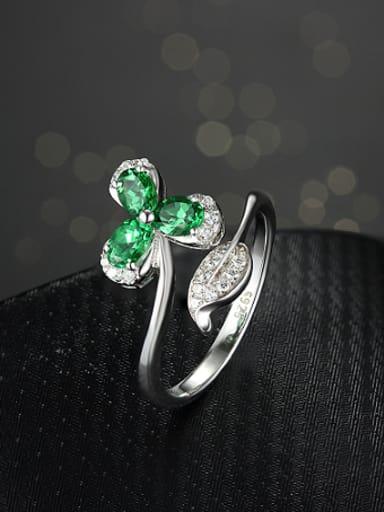 Platinum Plated Gemstones Flowery Cocktail Ring