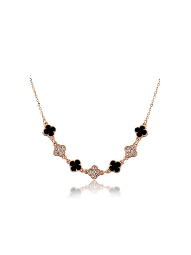 Women All-match Clover Shaped Enamel Necklace