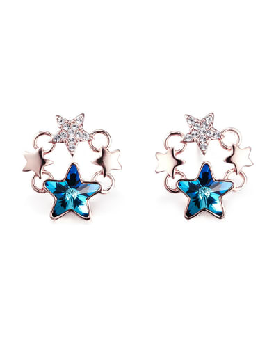Blue Five-pointed Star Shaped stud Earring