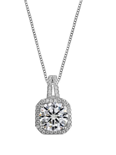 Simple fashionable and creative square Zircon Pendant Necklace