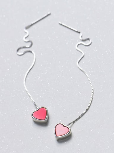 Temperament Pink Heart Shaped S925 Silver Line Earrings