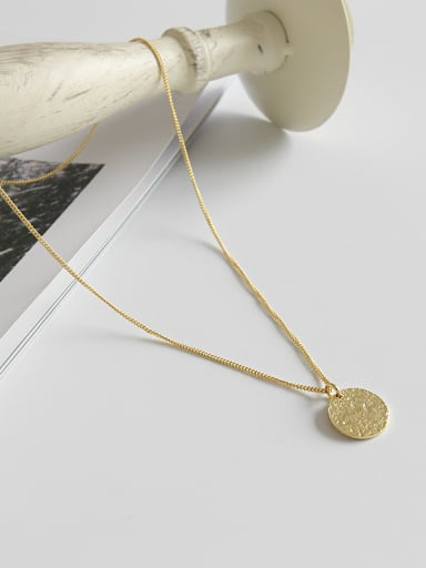 925 Sterling Silver With 18k Gold Plated Simplistic Concave face round tag Necklaces