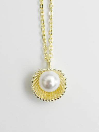 Fashion Artificial Pearl Shell Silver Necklace