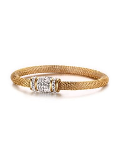 Exquisite Gold Plated Net Shaped Zircon Band Bracelet