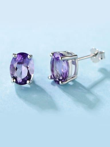 Purple Crystal stud Earring