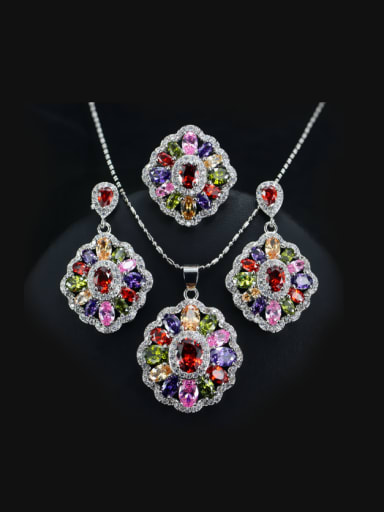 Colorful Zircons Flower Three Pieces Jewelry Set