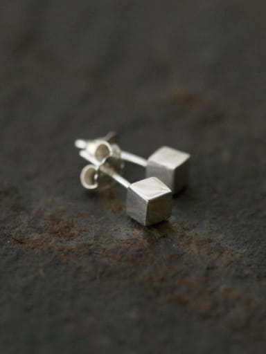 Sterling Silver Square mini ear studs