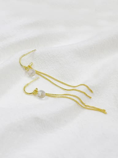 Personalized Gold Plated White Crystal Ball Slim Chain Earrings