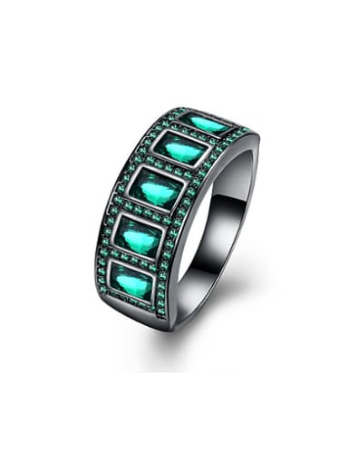 Personalized Rectangular Zircon Rhinestones Ring