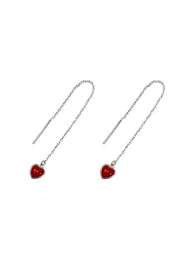 Simple Little Red Heart Silver Line Earrings